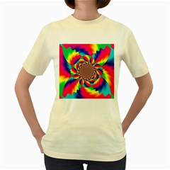 Colorful Psychedelic Art Background Women s Yellow T Shirt