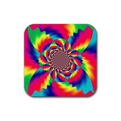 Colorful Psychedelic Art Background Rubber Square Coaster (4 Pack)