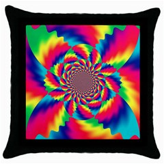 Colorful Psychedelic Art Background Throw Pillow Case (black)
