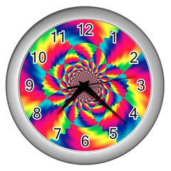 Colorful Psychedelic Art Background Wall Clocks (silver)