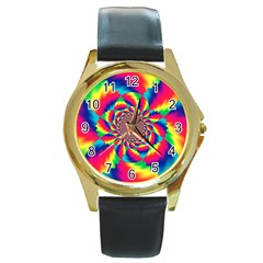 Colorful Psychedelic Art Background Round Gold Metal Watch
