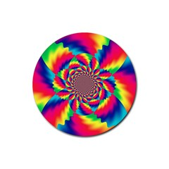 Colorful Psychedelic Art Background Rubber Round Coaster (4 Pack)
