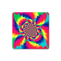 Colorful Psychedelic Art Background Square Magnet