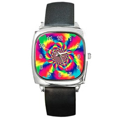 Colorful Psychedelic Art Background Square Metal Watch
