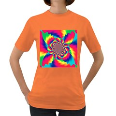 Colorful Psychedelic Art Background Women s Dark T Shirt