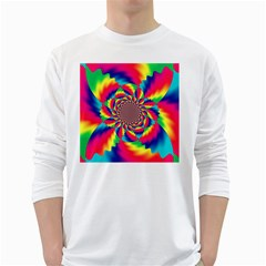 Colorful Psychedelic Art Background White Long Sleeve T Shirts