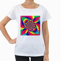 Colorful Psychedelic Art Background Women s Loose Fit T Shirt (white)