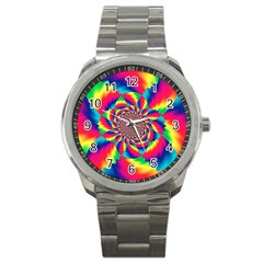 Colorful Psychedelic Art Background Sport Metal Watch