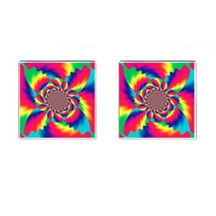 Colorful Psychedelic Art Background Cufflinks (Square)