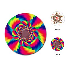 Colorful Psychedelic Art Background Playing Cards (round)