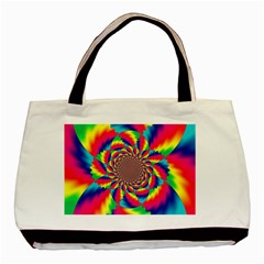 Colorful Psychedelic Art Background Basic Tote Bag