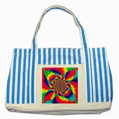 Colorful Psychedelic Art Background Striped Blue Tote Bag