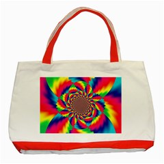 Colorful Psychedelic Art Background Classic Tote Bag (red)