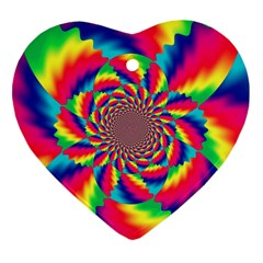 Colorful Psychedelic Art Background Heart Ornament (two Sides)