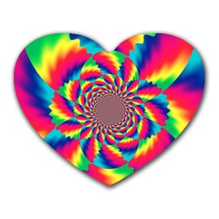 Colorful Psychedelic Art Background Heart Mousepads