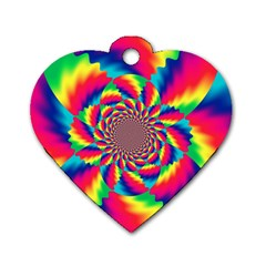 Colorful Psychedelic Art Background Dog Tag Heart (one Side)
