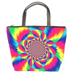 Colorful Psychedelic Art Background Bucket Bags