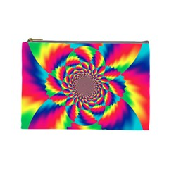 Colorful Psychedelic Art Background Cosmetic Bag (large)