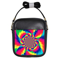 Colorful Psychedelic Art Background Girls Sling Bags