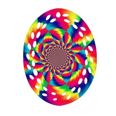 Colorful Psychedelic Art Background Oval Filigree Ornament (two Sides)
