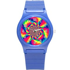 Colorful Psychedelic Art Background Round Plastic Sport Watch (s)