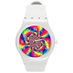 Colorful Psychedelic Art Background Round Plastic Sport Watch (m)