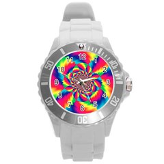 Colorful Psychedelic Art Background Round Plastic Sport Watch (l)