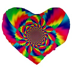Colorful Psychedelic Art Background Large 19  Premium Heart Shape Cushions