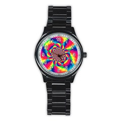 Colorful Psychedelic Art Background Stainless Steel Round Watch