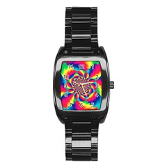 Colorful Psychedelic Art Background Stainless Steel Barrel Watch
