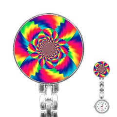 Colorful Psychedelic Art Background Stainless Steel Nurses Watch