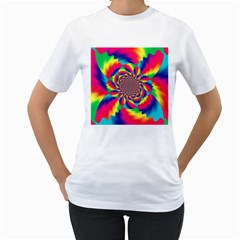 Colorful Psychedelic Art Background Women s T-Shirt (White)