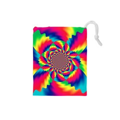 Colorful Psychedelic Art Background Drawstring Pouches (small)