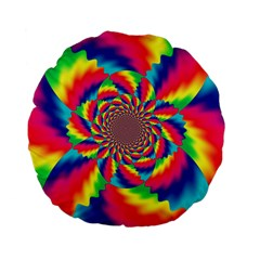 Colorful Psychedelic Art Background Standard 15  Premium Flano Round Cushions