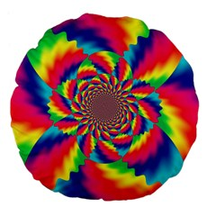 Colorful Psychedelic Art Background Large 18  Premium Flano Round Cushions