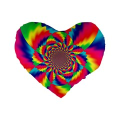 Colorful Psychedelic Art Background Standard 16  Premium Flano Heart Shape Cushions