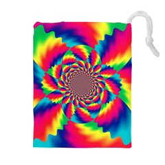 Colorful Psychedelic Art Background Drawstring Pouches (extra Large)