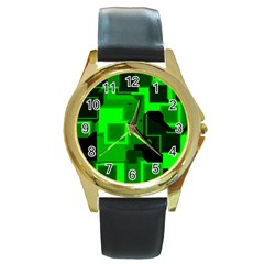 Cyber Glow Round Gold Metal Watch