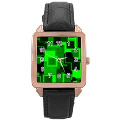 Cyber Glow Rose Gold Leather Watch