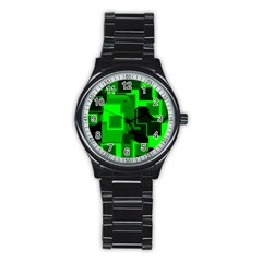 Cyber Glow Stainless Steel Round Watch