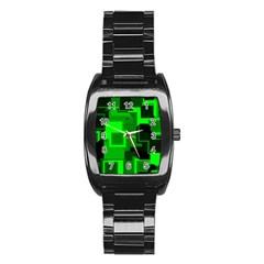 Cyber Glow Stainless Steel Barrel Watch