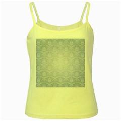 Damask Pattern Wallpaper Blue Yellow Spaghetti Tank