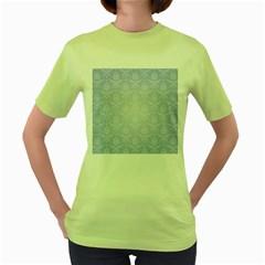 Damask Pattern Wallpaper Blue Women s Green T-Shirt