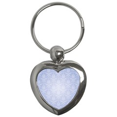 Damask Pattern Wallpaper Blue Key Chains (heart)