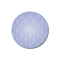 Damask Pattern Wallpaper Blue Rubber Coaster (round)