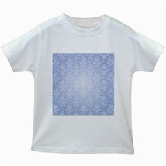 Damask Pattern Wallpaper Blue Kids White T Shirts