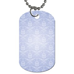 Damask Pattern Wallpaper Blue Dog Tag (one Side)