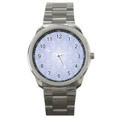 Damask Pattern Wallpaper Blue Sport Metal Watch