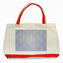 Damask Pattern Wallpaper Blue Classic Tote Bag (red)