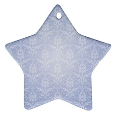 Damask Pattern Wallpaper Blue Star Ornament (two Sides)